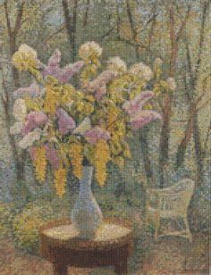 Vase Of Flowers In A Garden Cross Stitch by Avalon Cross Stitch on Etsy