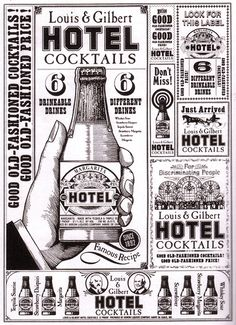 1980-era newspaper advertisements designed by Robert Miller for Louis & Gilbert's pre-mixed cocktail concoctions.