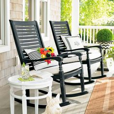 Settle into the generous proportions and comfortable contours of the Nantucket outdoor rocking chair: weve updated the classic front porch rocker with style, comfort and value in mind. Outdoor Chair Cushions, House With Porch, Patio Furniture, Front Porch Decorating, Outdoor Chairs, Porch Design, Rocking Chair, Rocking Chair Porch, Front Porch Seating