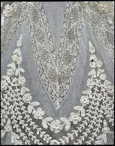 detail on dress ~ cotton lace crochet France, 1904-1908