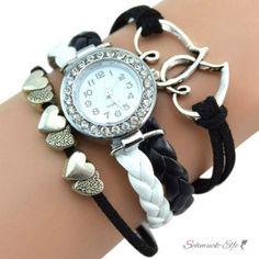 Damen Armbanduhr Herzen mit Strass Kunstleder schwarz weiß