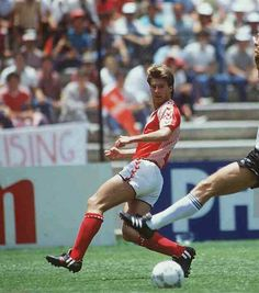 Denmark 2 West Germany 0 in 1986 in Queretaro. Michael Laudrup with a teasing low cross in Group E at the World Cup Finals.
