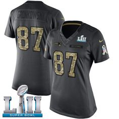 Women New England Patriots 87 Gronkowski Anthracite Salute To Service  Limited 2018 Super Bowl NFL Jerseys a4260db56