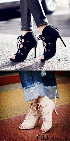 Women's Style Pumps and D'orsay Heels Beige and Black Suede Lace Up Strappy Stiletto Heels Peep Toe Ankle Boots Chic Fashion Prom Shoes Spring Outfits 2018 Street Style Outfits London Fashion Elegant Wedding Dresses Shoes Sexy High Heels Shoes Cute Outfits For Women Outfits For School| FSJ