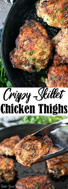 Crispy Skillet Chicken Thighs are seasoned with simple pantry ingredients. Crispy on the outside, tender and juicy on the inside.
