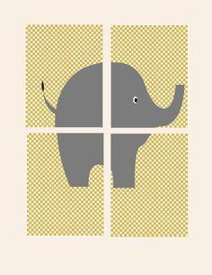 Nursery Wall Decor Elephant Prints for Kids Set of 4