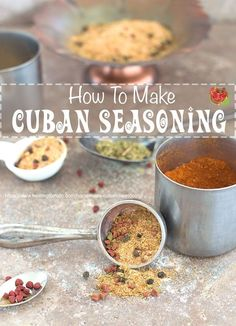 Homemade Cuban Seasoning is very easy to make. This Cuban Spice is made in less than 10 minutes and its can be used in any recipe. Add to Picadillos, sandwiches and even in Cuban Spice Rubs. Cuban Recipes, Great Recipes, Favorite Recipes, Healthy Recipes, Amazing Recipes, Delicious Recipes, Easy Recipes, Homemade Spices, Homemade Seasonings