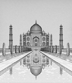 The Taj, Agra on Behance – Architektur Pencil Sketches Architecture, Pencil Sketches Landscape, Architecture Drawing Sketchbooks, Art Drawings Sketches Simple, Landscape Drawings, Pencil Art Drawings, Architecture Drawing Plan, Perspective Drawing Lessons, Perspective Art
