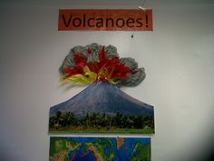 Volcanoes display but its the wrong shape of volcano.lesson learned, it pays to research before creating a display Class Displays, School Displays, Classroom Projects, Classroom Ideas, Teachers Corner, School Decorations, Volcanoes, School Resources, Lessons Learned