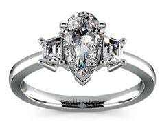 Pear Trapezoid Diamond Engagement Ring in White Gold http://www.brilliance.com/engagement-rings/trapezoid-diamond-ring-white-gold
