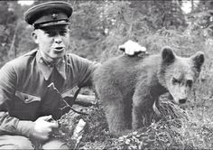 Soviet soldier with a baby bear