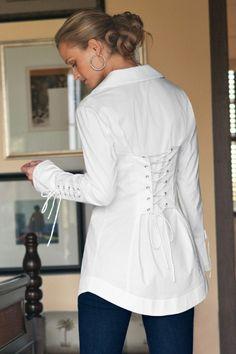 Claudette Shirt - White Shirt, Cotton Stretch, Double Collar, Shirttail Hem | Soft Surroundings Outlet