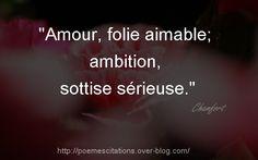 Chamfort &Amour, folie aimable; ambition, sottise sérieuse.& Chamfort
