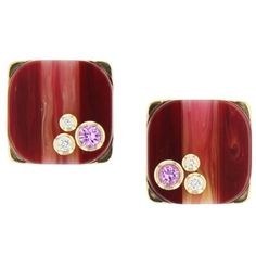 Mark Davis Bakelite Diamond Pink Sapphire Yellow Gold Earrings | From a unique collection of vintage stud-earrings at https://www.1stdibs.com/jewelry/earrings/stud-earrings/