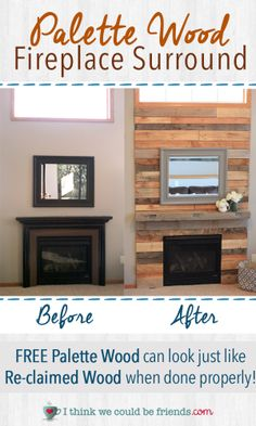 Palette Wood Fireplace Surround looks just like re-claimed wood- Love the warmth and texture it adds! #diy #homedecor #remodel