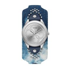 Guess Women's Watch Silver Analog Dial Blue Denim Strap Sparkling Face Ladies Wrist Watch. Guess Watches For Women. Watch Gift Ideas For Her/GirlFriend/Wife/Daughter/Sister. Denim Display, Silver Logo, Bracelet Cuir, Leather Cuffs, Quartz Watch, Smartwatch, Michael Kors, Lady, Womens Fashion