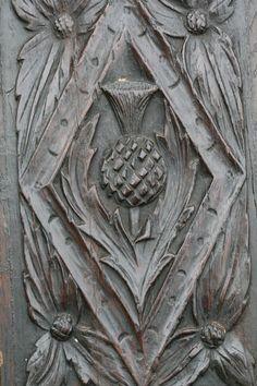 Wooden OAK Panel With Scottish Thistle C1680