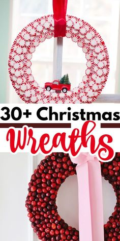 These Christmas wreaths include Santa themes or those that use candy, and some are fruit and/or flower wreaths while others use natural elements. #christmas #christmaswreaths #wreath #diywreath #diychristmaswreath #diychristmasdecor #christmasdecor #holidaydecor #diyholidaydecor #craftsbyamanda Christmas Ad, Christmas Sewing, Simple Christmas, Christmas Wreaths, Christmas Crafts, Christmas Decorations, Christmas Ornaments, Christmas Ideas, Office Christmas