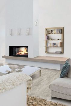 20 fireplace ideas for a cocooning salon - Decoration For Home Fireplace Seating, Fireplace Built Ins, Home Fireplace, Modern Fireplace, Fireplace Design, Fireplace Ideas, Contemporary Fireplaces, White Furniture, Furniture Plans