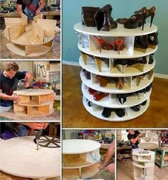 selber bauen Spinning Shoe Rack, is a Lazy Susan Shoe Rack, to use as a Shoe Storage Floor to Ceiling to Save Space Shoe Storage Floor To Ceiling, Closet Shoe Storage, Diy Shoe Rack, Shoe Racks, Diy Shoe Organizer, Handbag Organization, Storage Organization, Spinning Shoe Rack, Rotating Shoe Rack