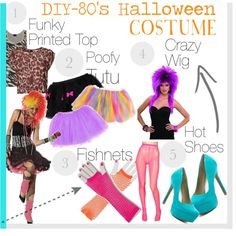 """DIY- Halloween Costume- 80s"" by fashionbeauty-x on Polyvore"