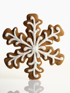 Gingerbread Snowflakes This seven-inch flake, prettier than a gingerbread house or a gingerbread man, is big enough to share -- but who really wants to? Sanding sugar atop piped royal icing gives it an icy sheen. YIELD:Makes 16 cookies Noel Christmas, Christmas Goodies, Christmas Treats, Christmas Baking, Xmas, Christmas Decor, Christmas Design, Shaped Cookies Recipe, Martha Stewart Christmas