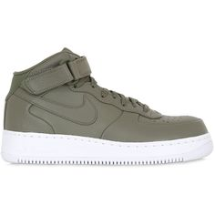 Nike Men Nike Lab Air Force 1 Mid Top Sneakers ($165) ❤ liked on Polyvore featuring men's fashion, men's shoes, men's sneakers, shoes, sneakers, nike, army green, mens sneakers, mens velcro strap sneakers and mens shoes