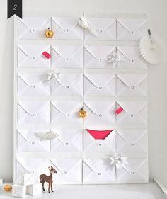 adventskalender weiße briefumschläge glückwünsche ideen