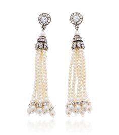 Ben-Amun Bridal Tassel Pearl Earrings | Thomas Laine