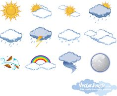 Vector weather icons - sun, clouds, rain and snow. Free Vector Art, Vector Graphics, Weather Icons, Borders And Frames, Reference Images, Science For Kids, Childhood Education, Planner Stickers, Clip Art