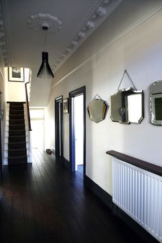 Extensive range of parquet flooring in Edinburgh, Glasgow, London. Parquet flooring delivery within the mainland UK and Worldwide. White Walls, Dark Hallway, Hallway Ideas Diy, London House, Wall Lights, Room Doors, Dark Doors, Skirting, Coloured Skirting Boards