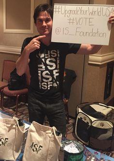 Ian Somerhalder - 19/09/15 - Just a few days to go!  #Vote @IS_Foundation #UpgradeYourWorldUSA  https://twitter.com/IS_Foundation/status/645416607687278596 - Twitter / Instagram Pictures