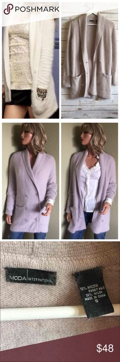 "Lavender Angora Long Cozy Cardigan Color: LAVENDER (Ivory has it's own post) MODA International Size S Fabric content is 70% angora rabbit hair and 30% nylon Two front pockets  Perfect with skinny jeans or black tights & boots.  Dress down or glam it up!  31.5"" long  Thank you for looking and please check out the rest of my closet. Moda International Sweaters Cardigans"