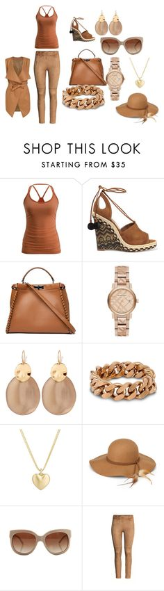 """brown"" by dianekrlapm ❤ liked on Polyvore featuring Aquazzura, Fendi, Burberry, Alexis Bittar, STELLA McCARTNEY, Finn, Steve Madden and H&M"
