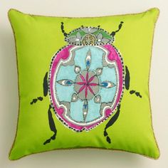 Green Beetle Outdoor Throw Pillow. Mix and match pillows and cushions in fun patterns and fashionable colors to refresh your outdoor space instantly.