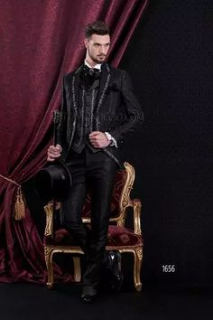 ONGala 1656 - Black damasked Gothic baroque wedding suit for groom with silver embroideries