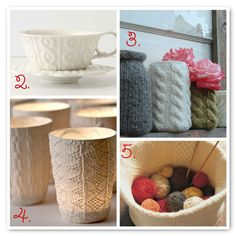 ~knitted jar covers. Sweater instead of knit?