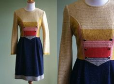 1960s Wool Dress  Vintage 60s Winter Dress  by LittleGhostVintage