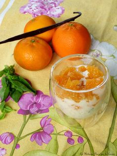 Riz au lait vanille, basilic et clémentines Grapefruit, Risotto, Orange, Desserts, Food, Rice Puddings, Vanilla, Basil, Kitchens