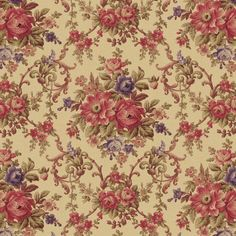 Rebecca Floral Fabric #35343 Out Of Print Premium Cotton Windham #WindhamFabrics
