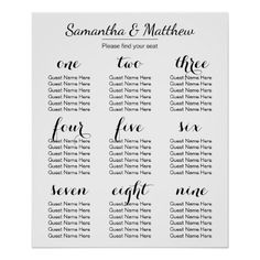 Simple & Chic Wedding | Seating Chart