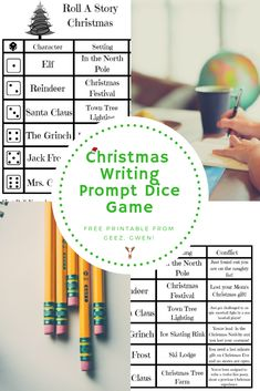 Christmas Themed Roll A Story Writing Prompt Dice Game … Continue readingRoll A Story Christmas Themed Dice Game Christmas Writing Prompts, Writing Prompts Funny, Writing Prompts For Writers, Picture Writing Prompts, Christmas Games For Kids, Christmas Themes, Christmas Fun, Christmas Projects, Handmade Christmas