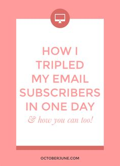Are you ready to dramatically increase your email list subscribers + grow your audience? These are the methods I used to triple my email list in one day.