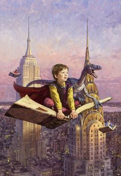 James Gurney shared this poster he did for New York is Book Country with Blown Covers.  I can't find it on his sites, alas.  Man, I want a flying book.