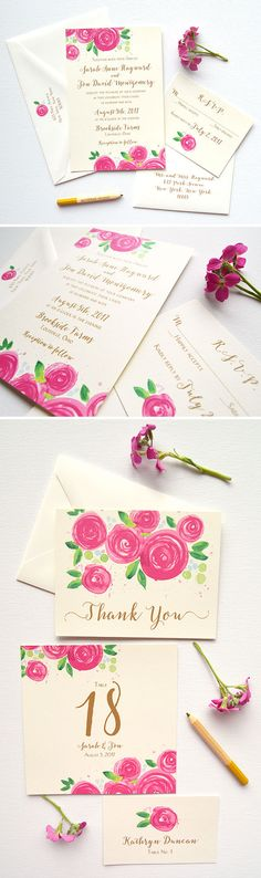 The Berry Rose Blooms Wedding Invitation design features original watercolor rose artwork on thick buttercream cards, and modern fonts in beautiful aged gold flat matte ink. Letterpress and raised ink upgrades available! - www.mospensstudio.com