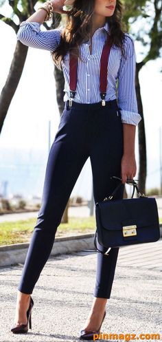 blue white striped shirt, navy trousers, red suspenders and high heels, what is business casual, leather bag International Women's Day is in a month. We have prepared business casual attire ideas to inspire the business ladies to dress for success Business Outfit Frau, Business Casual Outfits For Women, Casual Work Outfits, Business Dresses, Professional Outfits, Work Casual, Sexy Business Casual, Business Professional, Business Clothes