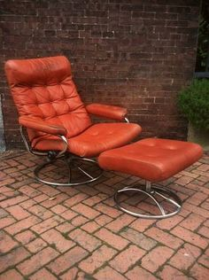 Richmond: Mid Century Danish Ekornes Leather Chair And Ottoman $175    Http://