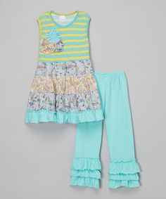 Love this Blue & Yellow Stripe Ruffle Dress & Leggings - Toddler & Girls by Adorable Sweetness on #zulily! #zulilyfinds
