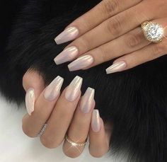 Glitter Dust Coffin/Ballerina Nails