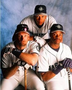 c3f8f8bf0b Seattle Mariners Jay Buhner, left, Alex Rodriguez, and Ken Griffey Jr.,  pose for a portrait in (Albert Dickson/Sporting News)